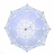 Bride-Umbrella Battenburg Lace Parasol Wedding-Decoration Vintage White YO CHO Samll