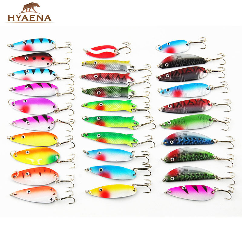 Hyaena 30pcs/lot Mixed Color/Size/Weight Spinner Metal Fishing Lures Baits Crankbait Assorted Trout Spoon Spinner Bait 50pcs lot mixed color