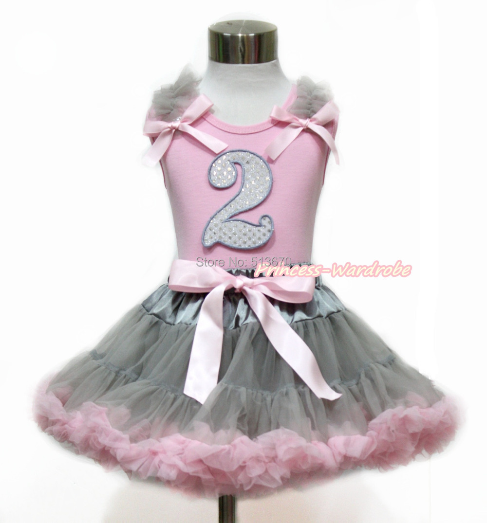 ФОТО Sparkle 2ND Birthday Pink Top Girl Gray Pink Skirt 1-8Year M574