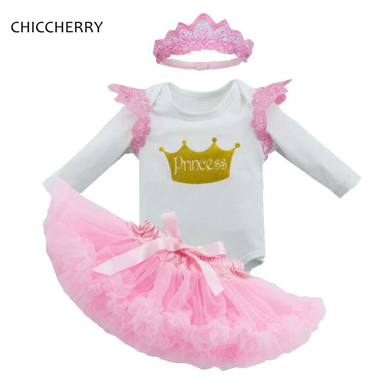 Crown Princess Baby Girl Clothes Cotton Infant Girls Bodysuit Headband Party Lace Tutu Skirt Set Roupa De Bebe Birthday Outfits