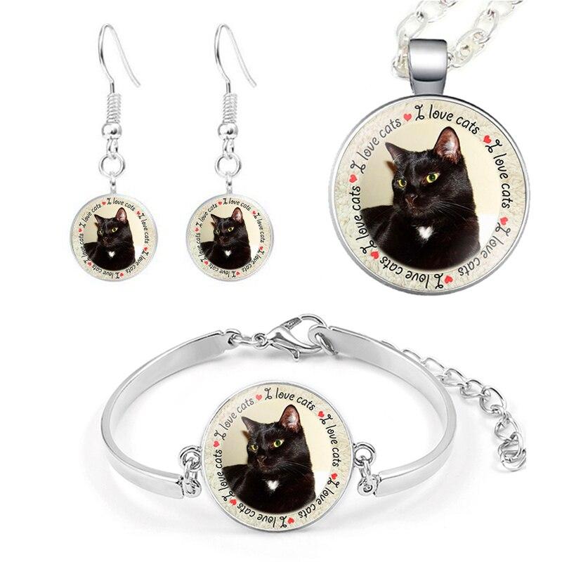 4 Pcs Cute Cat Jewelry Set...