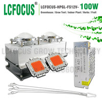 High Power 100W LED Grow Light Full Spectrum 400 840nm DC 12V Grow LED AC 85 265V For Hydroponics Vegetable Fruit Folwer