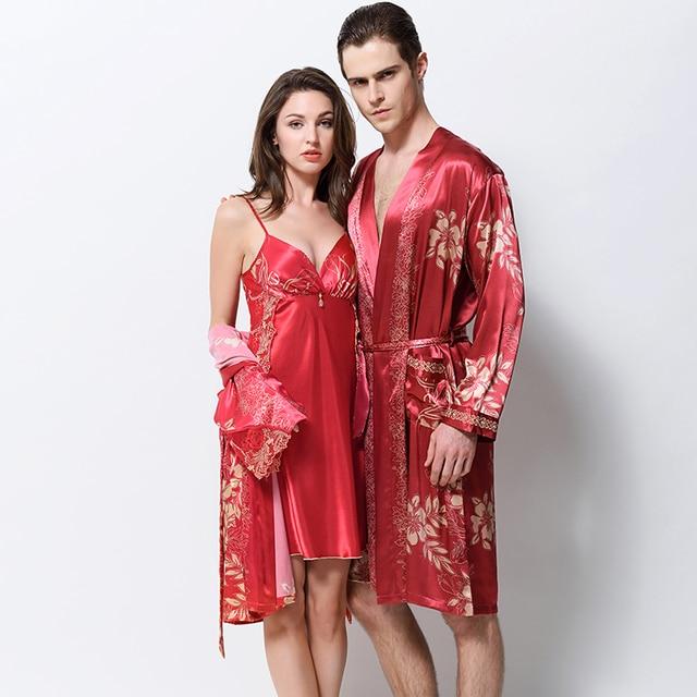 XIFENNI Lovers Bathrobes Emulation Silk Robe Sets Fashion Printed Satin  Silk Sleepwear Men Robes Women Nightgowns 386b7cccf