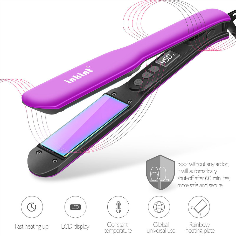 Professional LCD Digital Ceramic Hair Flat Iron Straightener Straightening Floating Heating Plate with Heat Resistant Glove mch flexible 3d floating ceramic wide plates flat iron far infrared hair straightener straightening curling with negative ions