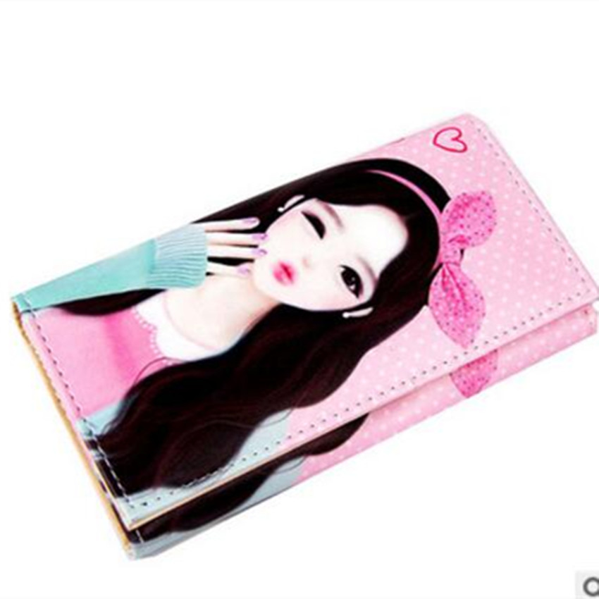 M124 Cute Women Long Wallet Printing Pattern Beautiful Girl Hasp Wallet PU Leather High Definition Cartoon Lady Purse cute cartoon cat pattern pu long wallet for women watermelon red