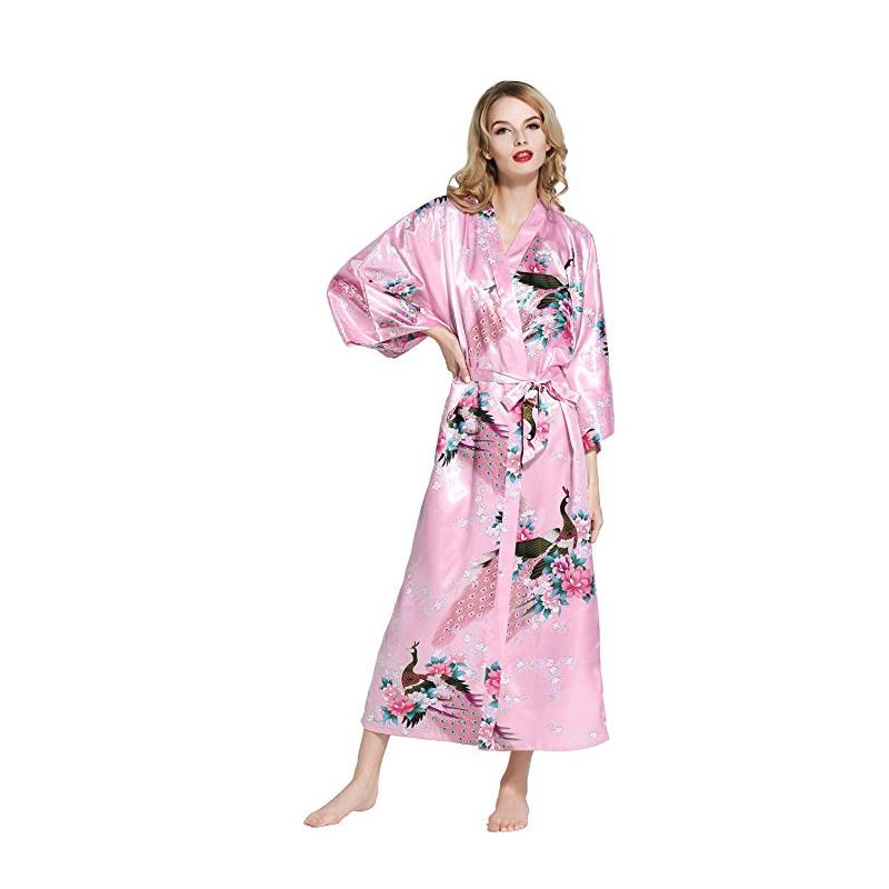 2018 Hot New Fashion Pink  Female Kimono Robe Gown Women Kimono Long Robe With Printed Peacock Long Silky Sleepwear  D128-01