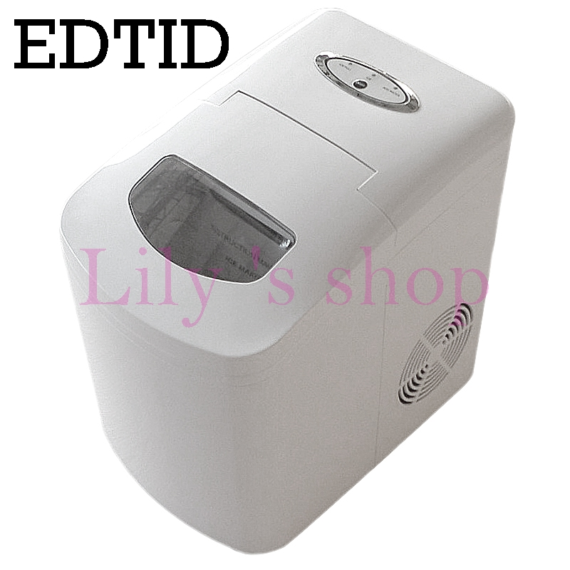 EDTID Household bullet round ice making machine Automatic commercial ice maker 12kgs/24H small bar coffee shop 110V EU US plug jiqi electric ice crusher shaver snow cone ice block making machine household commercial ice slush sand maker ice tea shop eu us