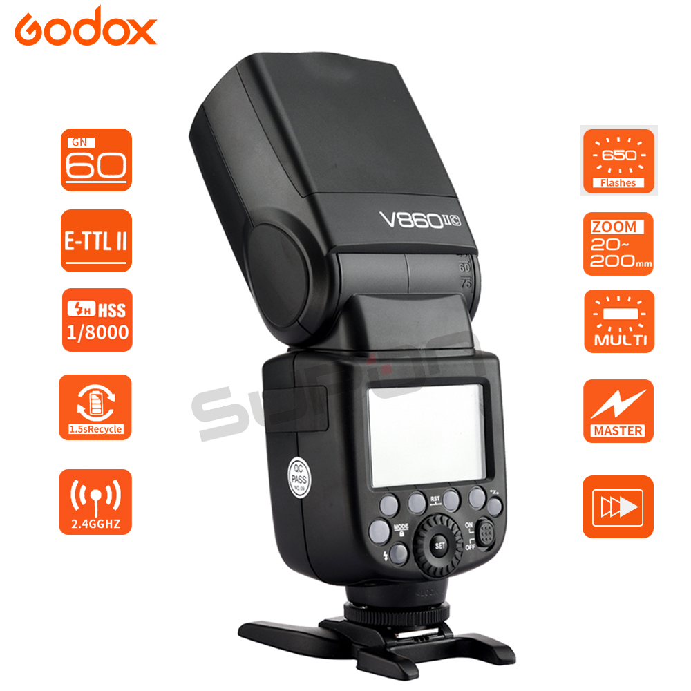 Paypal Accpect Godox Flash V860II C Li on Battery E TTL HSS 1 8000s Flash Speedlite Xpro C for Canon 60D 650D 80D Cameras in Flashes from Consumer Electronics