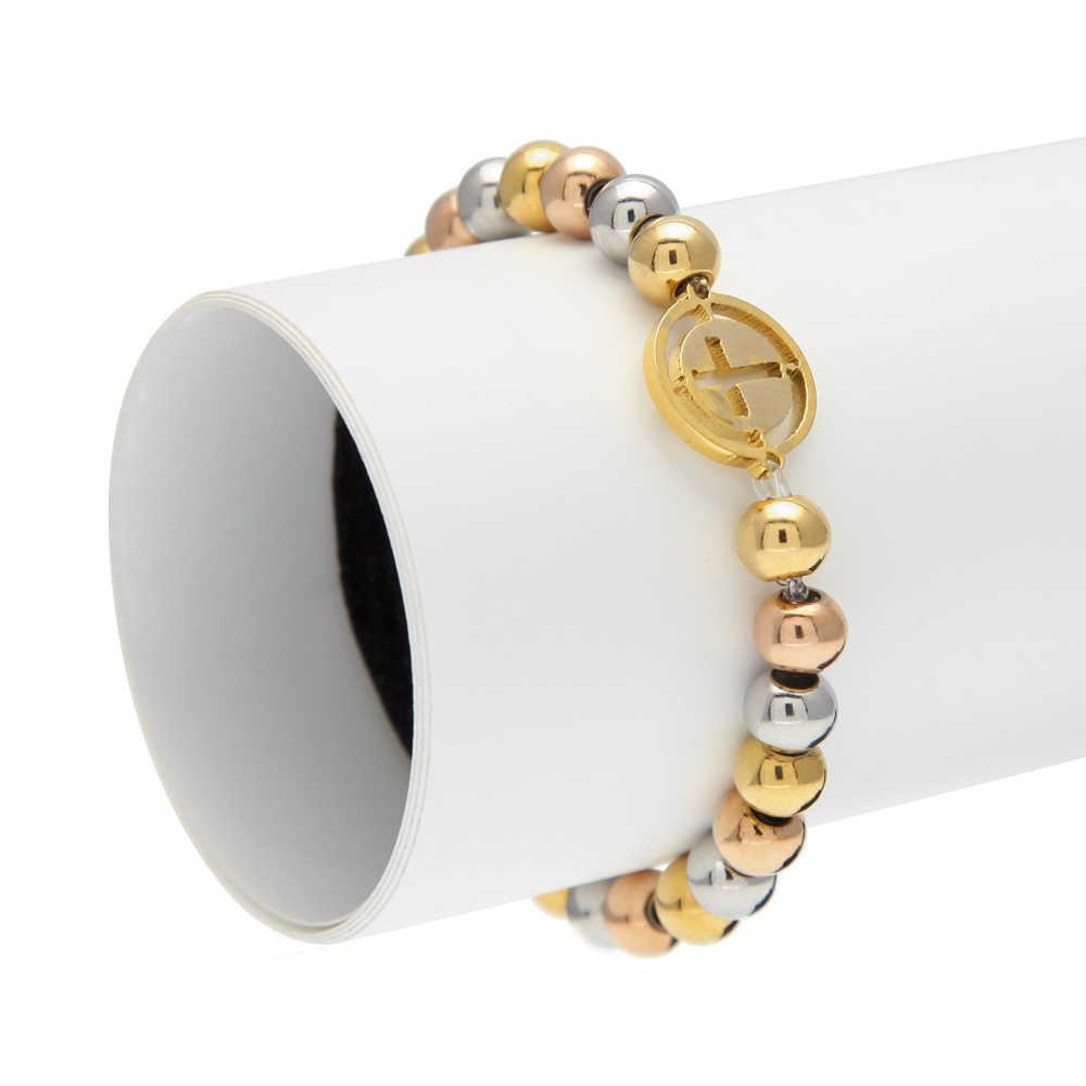 THE BLING KING Stainless Steel Gold Silver Tone Cross Stretch Bead Bracelet Rosary Link Fashion Men Women Girl adjustable
