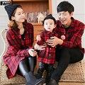 Famli 1 pc camisas xadrez 2017 família mãe pai da filha da mãe bebê Casual Xadrez de Manga Longa de Algodão Blusa T-shirt do Filho do Pai Outfit