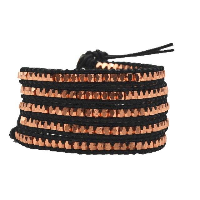 Rose gold tiny beads  waving men bracelet  black leather bangle  handmade charm jewelry multilayer bracelet JBN-1416