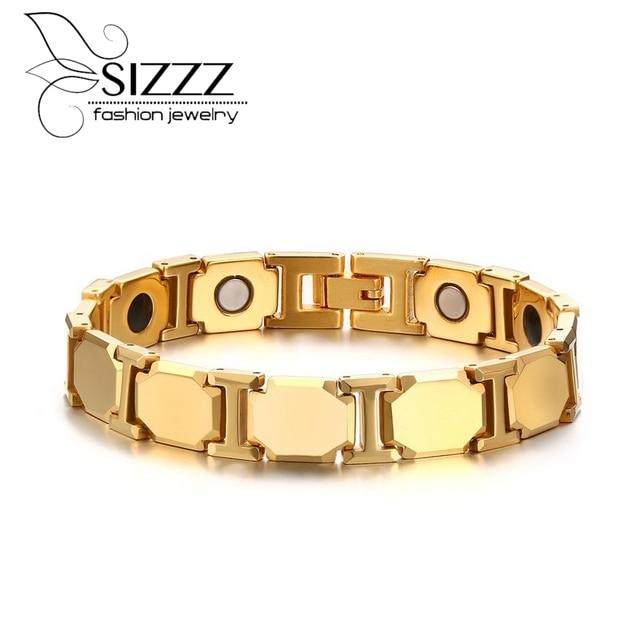 Gold Plated Magnetic Therapy Bracelets Men's Negative Ion Germanium Link Tungsten Carbide Bracelet