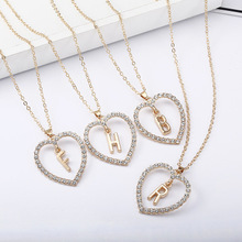 Romantic Love Pendant Necklace For Girls Women Rhinestone Initial Letter Necklace Alphabet Gold Collars Trendy New Charms Kolye trendy rhinestone inlaid letter round pendant necklace for lovers