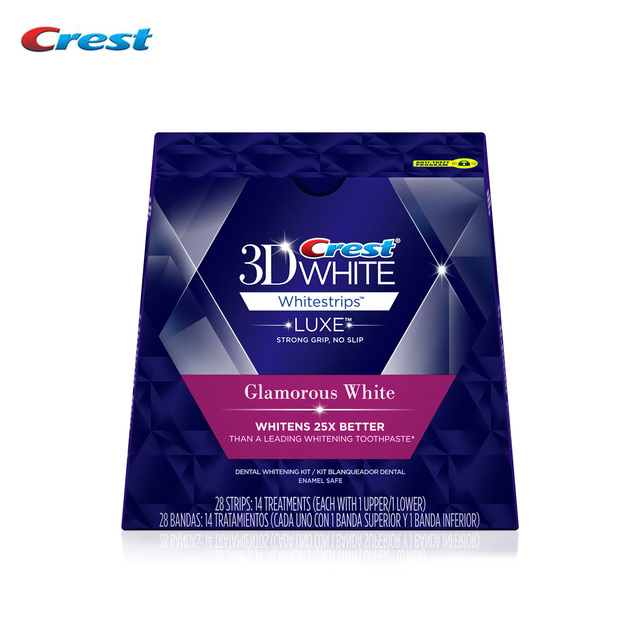 14 tratamientos/28 tiras Cresta 3D BLANCO Whitestrips Intensivos Glamorous Blanco Blanqueador de Dientes Dientes Cuidado Bucal Blanqueamiento profesional
