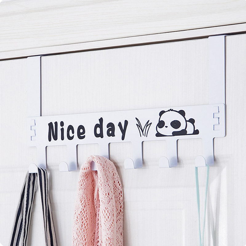 6 Hooks Detachable Nail Trace Back Door Coat Rack Creative Cartoon Wall-hung Hangers Living Room Furniture