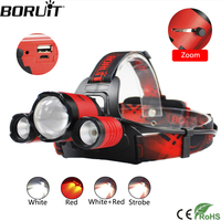 BORUiT XM L2 LED Headlamp XPE RED LED Hunting Flashlight 4 Mode Zoomable Headlight Power Bank Head Torch by 18650 Battery