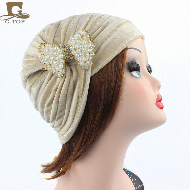 New luxury pleated Woman Turban Headband Indian Style Hair Cover Headwrap with pearled Bowknot Brooch Winter Hijab Turbante