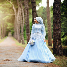 Hijab Long Sleeve Light Blue Arabic Turkish Muslim Wedding Dresses 2017 Handmade Flowers Feather Islamic Wedding Gowns Plus Size