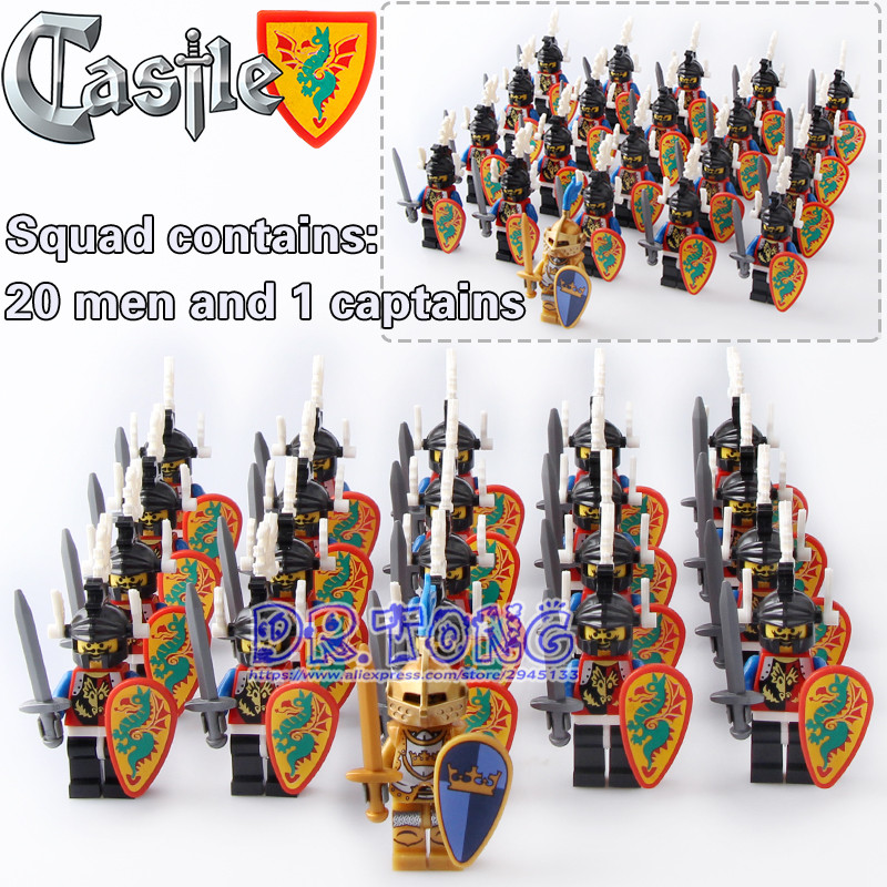 DR.TONG 21pcs/lot Medieval Castle Green Dragon Shadow Goden King Knight Heavy Shield Building Blocks Bricks Toys Children Gifts
