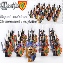 DR TONG 21pcs lot Medieval Castle Green Dragon Shadow Goden King Knight Heavy Shield Building Blocks
