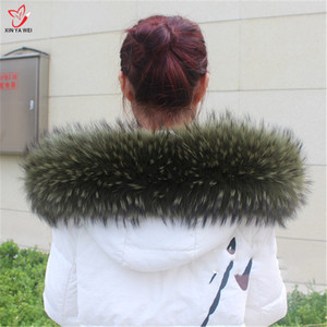 Image 4 - Natural Fur Collar Shawl Sweater Coat Collar Scarves Luxury Fur Raccoon Neck Cap Winter Real Fur Collar And Scarves women scarf