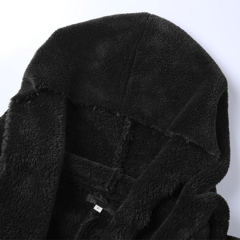 Image 5 - Winter Men long slim black plush shawl cashmere cardigan hooded  jacket men warm pockets European style cardigan F7149