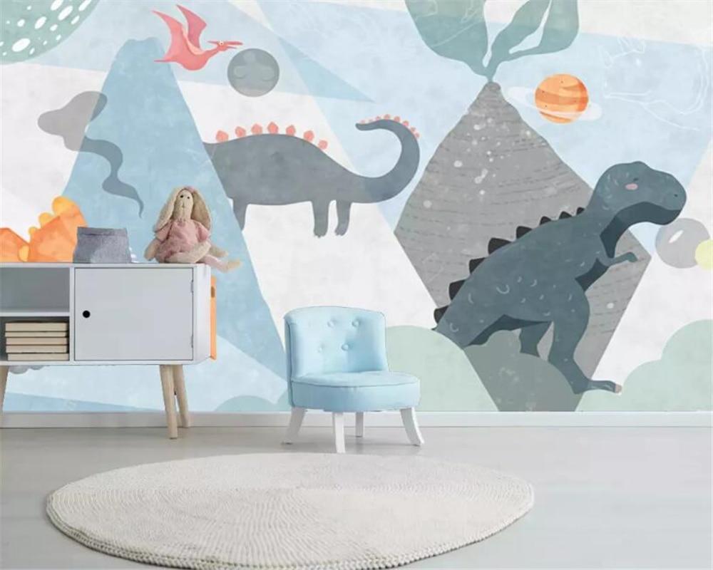 beibehang Custom 3d wallpaper Nordic Hand Painted cartoon dinosaur planet volcano children s room background wall