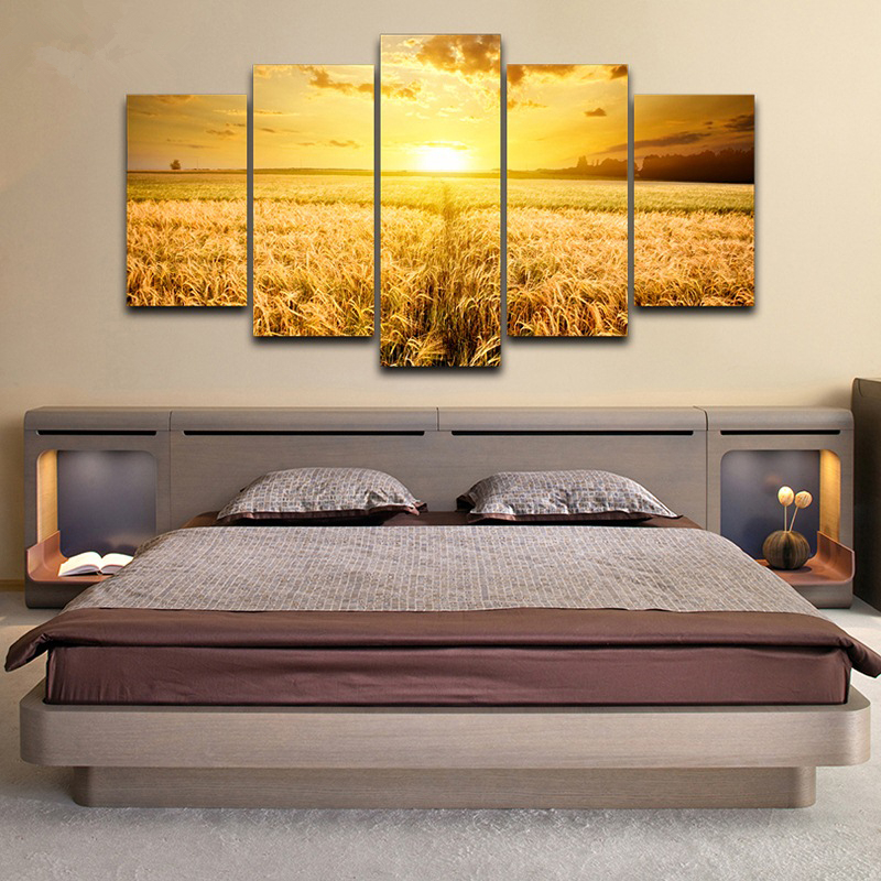 Modern HD Printed Modular Painting Frame Canvas Poster 5 Panel Sunshine Wheat Field Landscape Picture Home Wall Art Decor