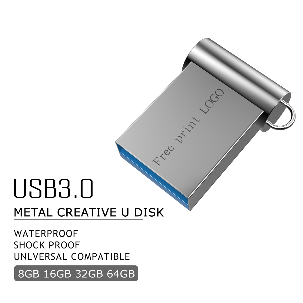 Flash Memory Stick 3.0 Metal High Speed Pendrive 128GB 64GB 16GB 8GB 4GB Pen Drive 32GB Super Mini Cle Usb Fashion Free Shipping
