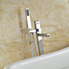 Chrome Brass Tub Filler Single Handle Free Standing Tub Faucet W/ Hand Shower