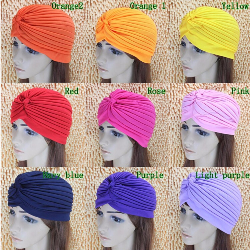 2016 New Fashion Women Turban Hat Bohemia 21 Solid Color Fold Beanies Female Simple Autumn Bonnet Indian Turban Hats For Women (40)