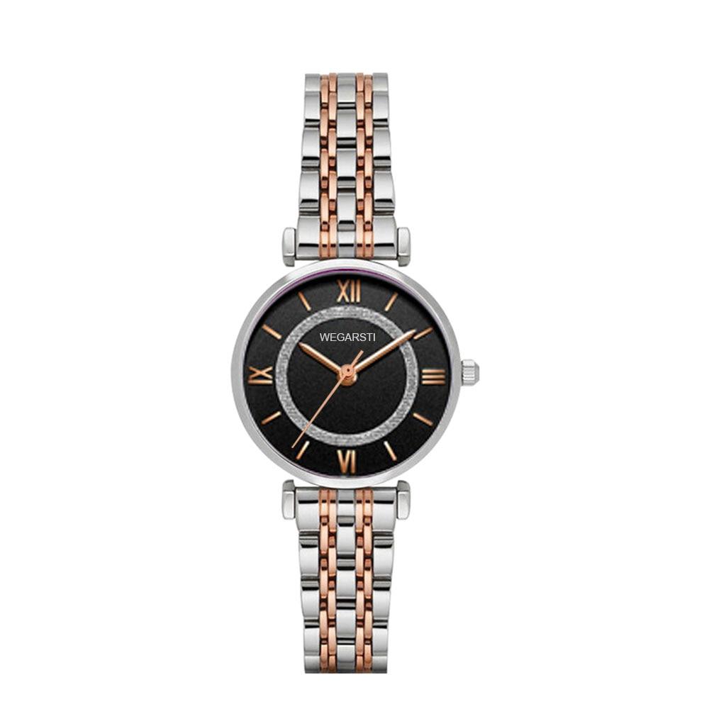 WEGARSTI Reloj Mujer Women Quartz Watch Horloges Vrouwen Wristwatch Lady Rose Gold Watch Clock Montre Femme Relogio Feminino