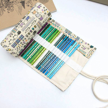 Pencil Case 36/48/72 Holes Portable Canvas Roll Up Pen Wrap Students Stationary Storage Bag Pouch For Painting School Supplies цена и фото