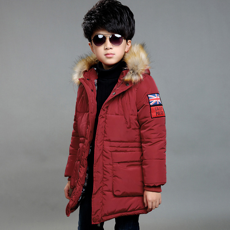 2017 hot Brand New Children's Down Jacket Kids Long Thick Hooded Winter Cotton Christmas Fashion Boy School Fur Collar Outerwear new brand women s middle aged and old long down jacket female bigger sizes mother fur collar clothing winter coat printing hot