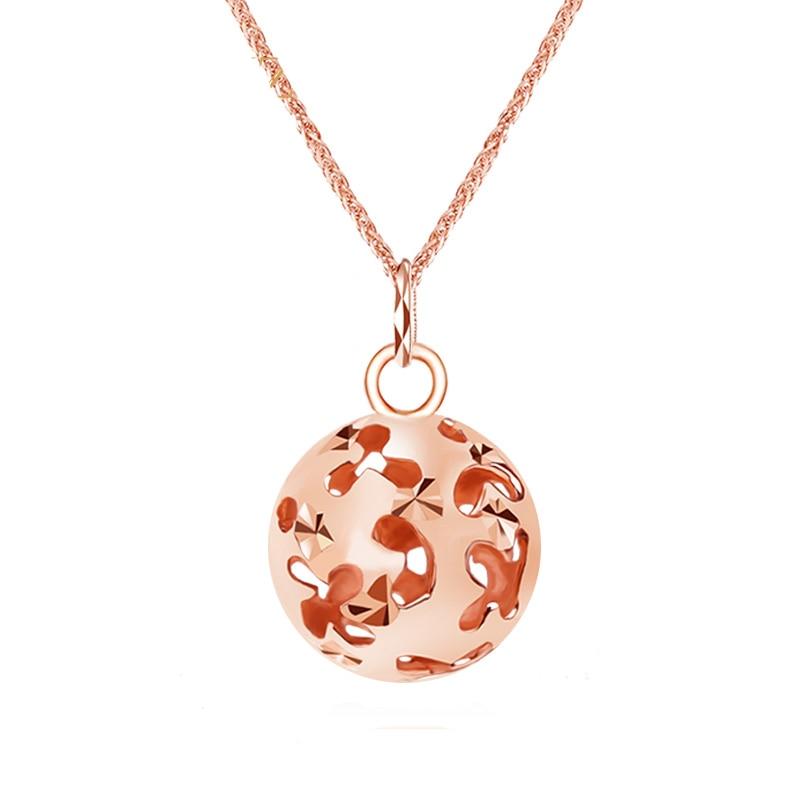 Pure AU750 Rose Gold Hollow Ball Necklace Pendant Chain alloy rose flower pendant necklace