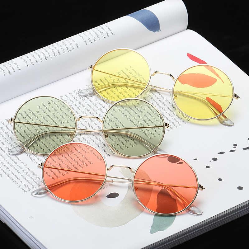 581a76640e9 Vintage Round Sunglasses Women Ocean Color Lens Mirror Sunglasses Female  Brand Design Metal Frame Circle Glasses