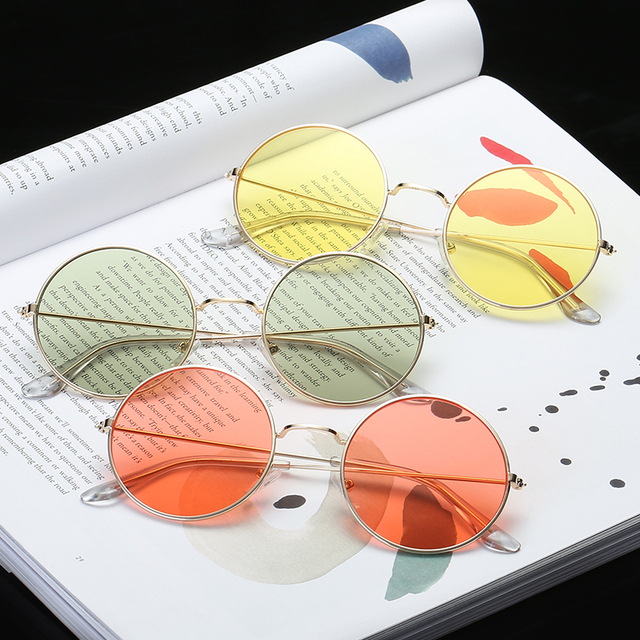 Vintage redondo gafas de sol de las mujeres del Color lente espejo gafas de sol mujer marca de diseño de Metal Marco de círculo, gafas UV400