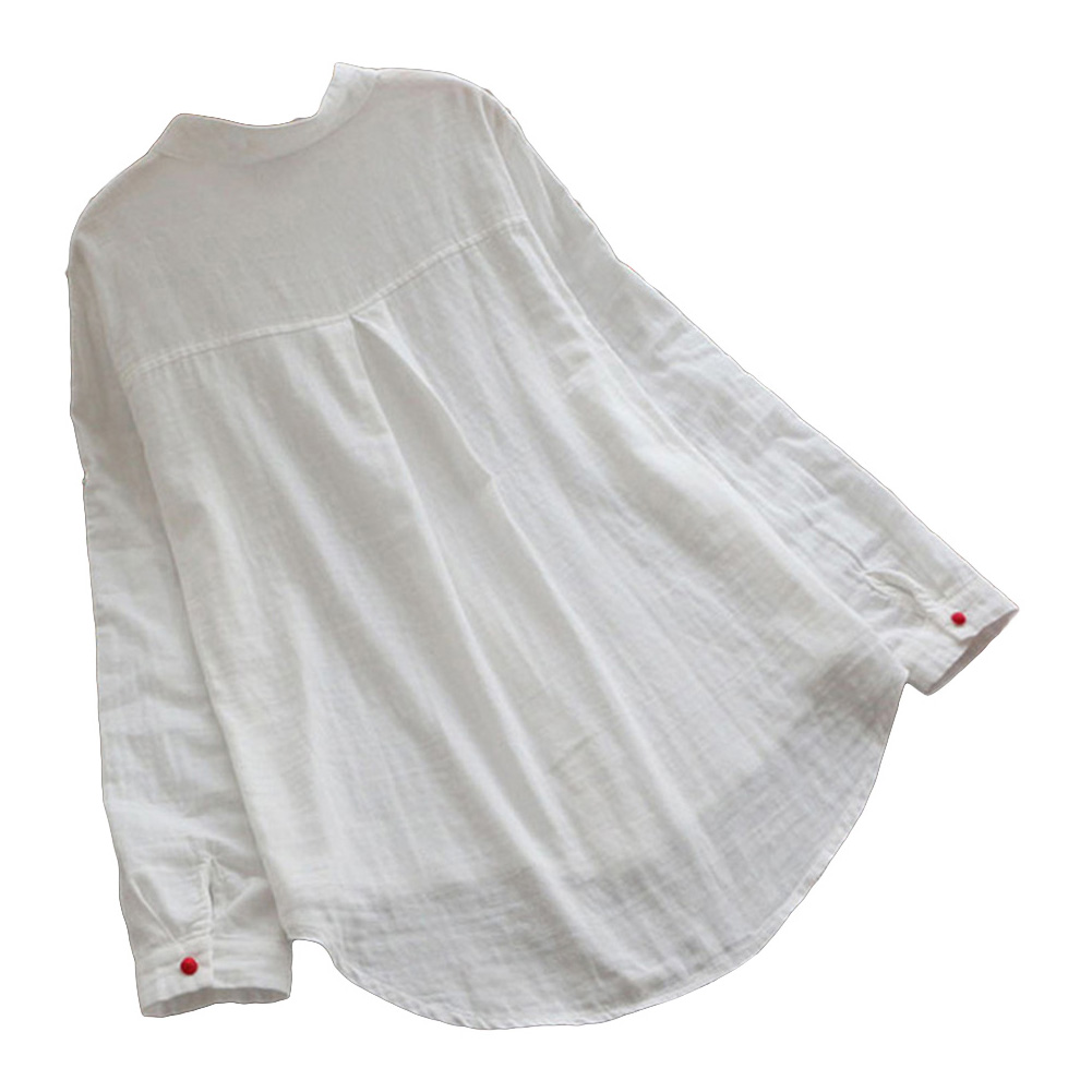Tamaño Mujeres Más Camisa blanco Loose Ocasionales Manga Rust Coloridos Blusa Collar Up azul Red Roll Botones 5xl xPqC4