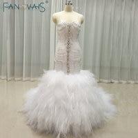 Luxury Shinning Mermaid Wedding Dresses Crystall top with festher bottom wedding gowns vestido de Novia 2018