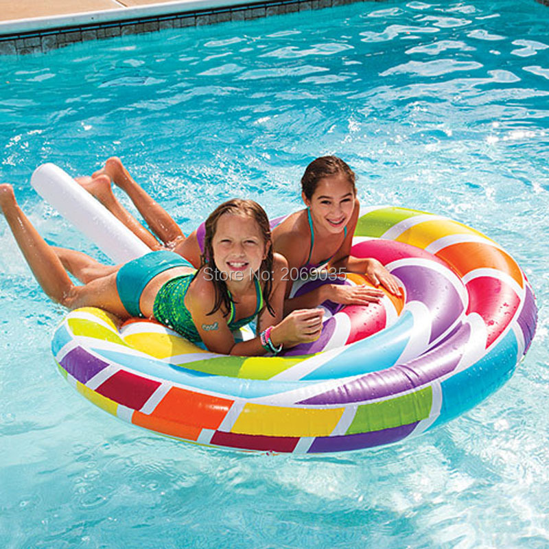 200cm 78inch Giant Inflatable Lollipop Pool Float Ride-On Floats Newest Swimming Ring Lounger Air Mattres Water Party Toy