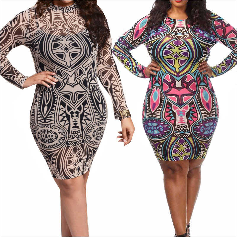 9a5ee0afd4e Plus Size Dress Big Women Clothing Tribal Vintage Print Sexy Summer Bodycon  Dress Long Sleeve Large