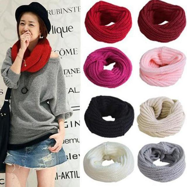 48270d2a9a9 Valentine s day gift Fashion women bib Knitted Ring Scarves Solid  Neckerchief Cape Yarn Small Muffler suit