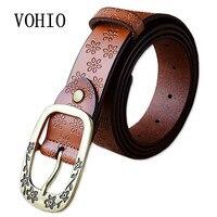 VOHIO thắt lưng Hoa vành đai khóa pin phụ nữ da vành đai kéo dài denim dây thắt lưng tôn tạo cổ điển cinto feminino couro 150