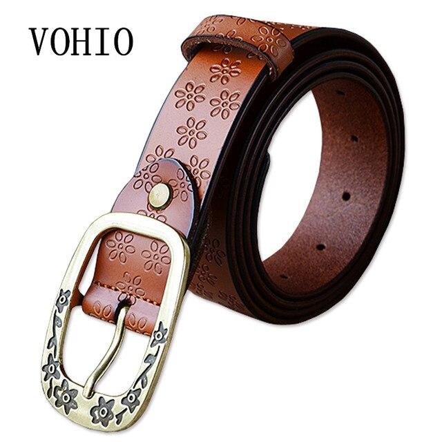 Vohio flor cinturones hebilla Cinturón correa de cuero de la señora  alargado Denim cintura adornado vintage 766eb8249c55