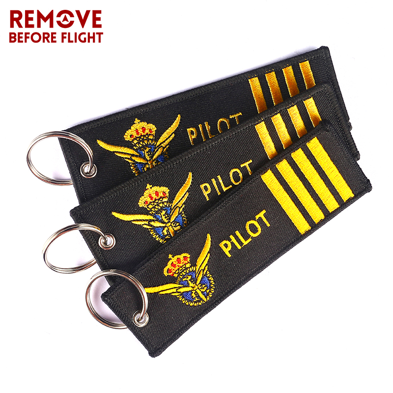 3 PCS/LOT Pilot Key Chain For Aviation Gifts Motorcycle Key Chains Embroidery Key Fob Fashionable Remove Before Flight Keychain