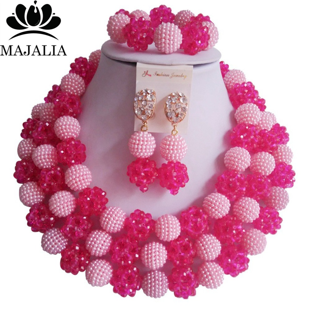 Trendy Hot Pink Nigeria Wedding african beads jewelry set Crystal and plastic necklace bracelet earrings Free shipping VV-245 цена