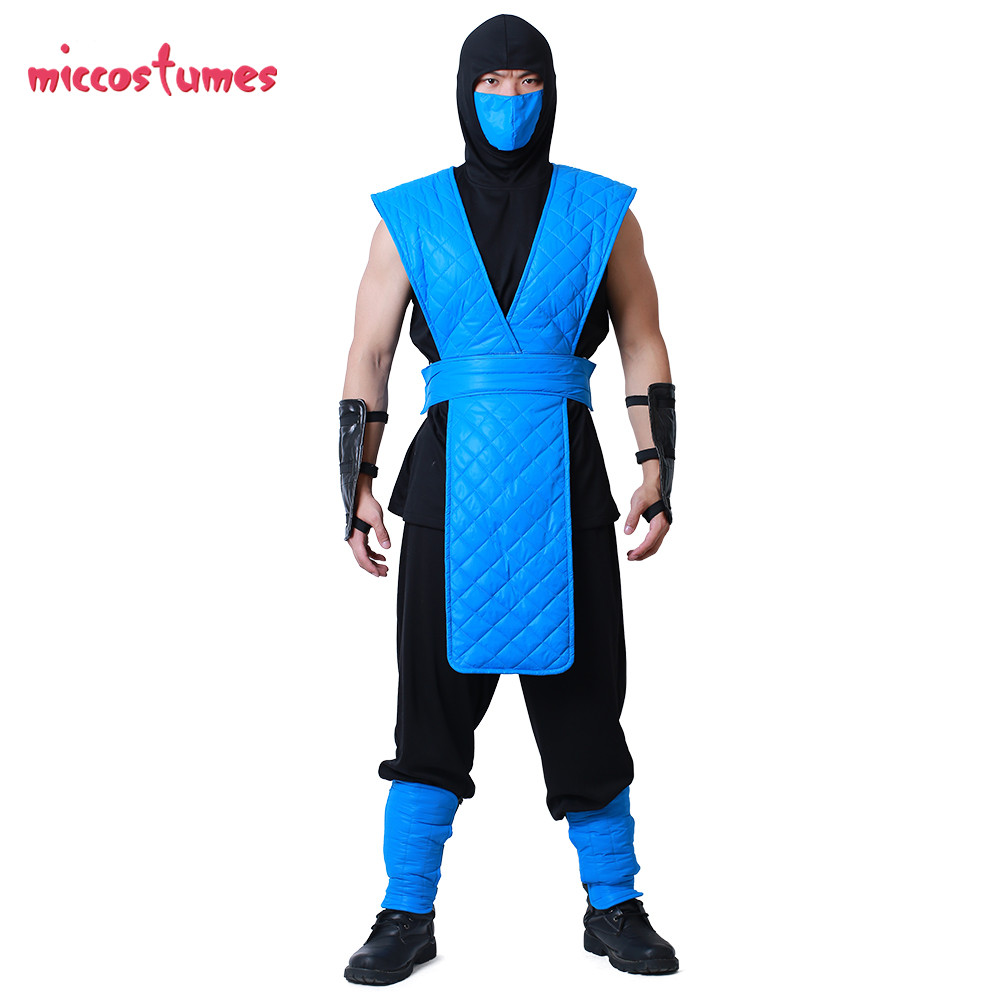 Shotokan Ninja Blue Fighter Halloween Cosplay Costume Mortal Kombat Full Cosplay Set for Men 2