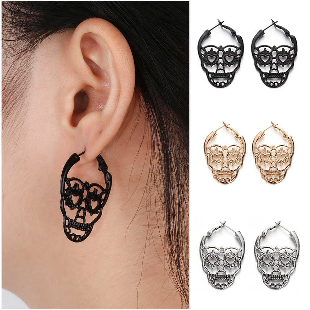 1 Pair Vintage Punk Gothic Skull Earrings Textured STextured kull Bones Earrings Women Skeleton Stud Earings FashionJewelry