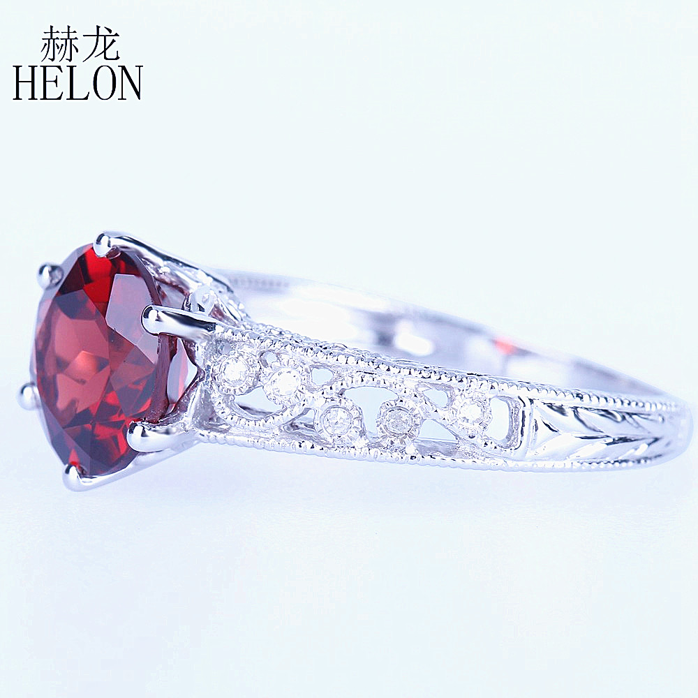 HELON 8mm Round Genuine Garnet Diamonds Ring 925 Sterling Silver Antique Vintage Art Deco Jewelry Engagement Wedding Ring Women цена в Москве и Питере