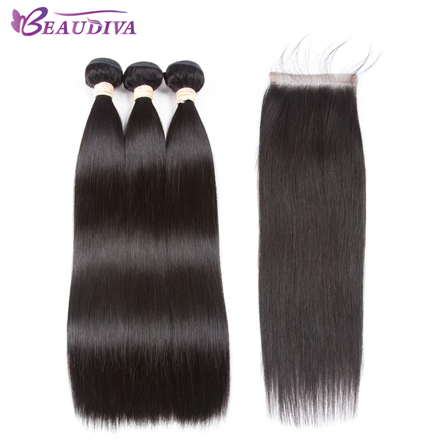 Beaudiva Hair Extension 100% Human Hair Bundles With Closure Brazilian Hair Weave Bundles Straight 3 Bundles With Lace Closure